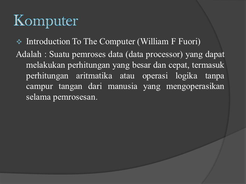 Komputer Introduction To The Computer (William F Fuori)
