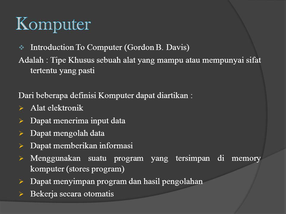 Komputer Introduction To Computer (Gordon B. Davis)