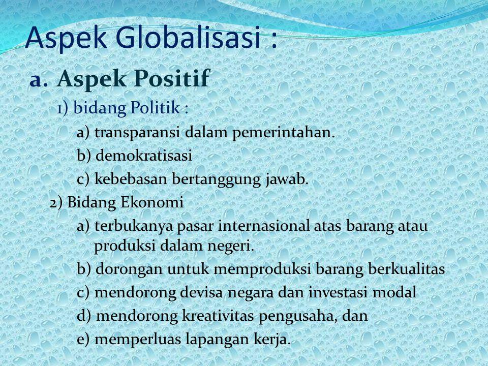 Aspek Globalisasi : Aspek Positif 1) bidang Politik :