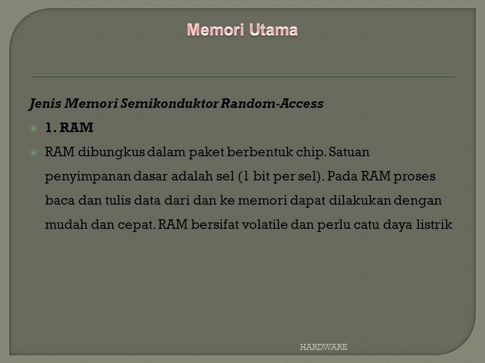Memori Utama Jenis Memori Semikonduktor Random-Access 1. RAM