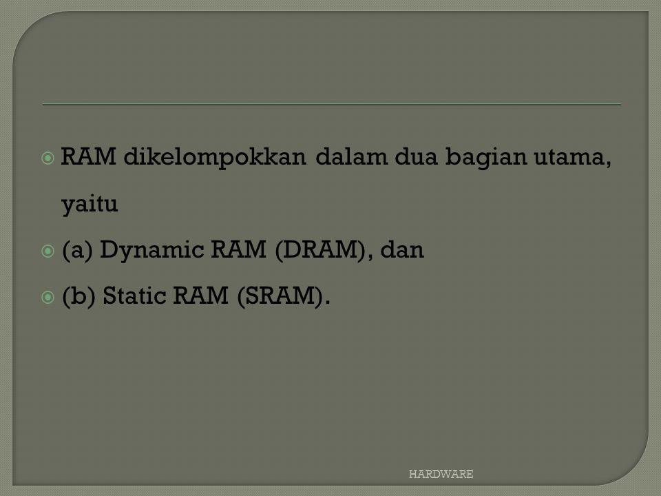RAM dikelompokkan dalam dua bagian utama, yaitu