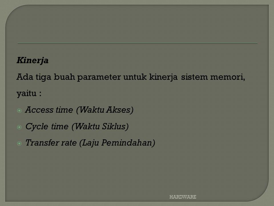 Ada tiga buah parameter untuk kinerja sistem memori, yaitu :