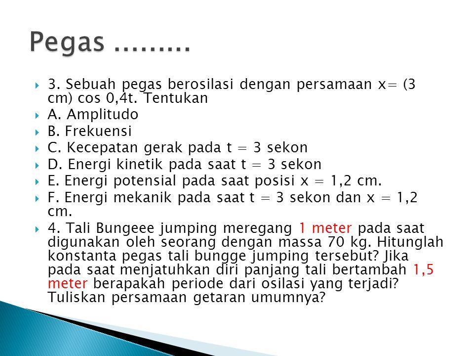 Pegas ......... 3. Sebuah pegas berosilasi dengan persamaan x= (3 cm) cos 0,4t. Tentukan. A. Amplitudo.