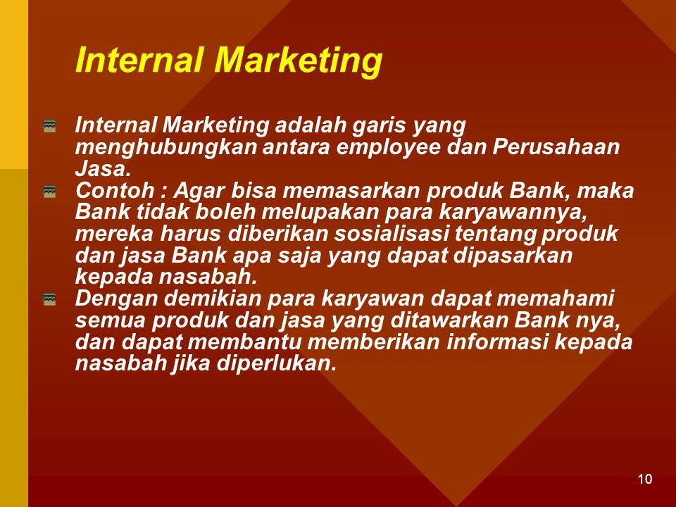 Internal Marketing Internal Marketing adalah garis yang menghubungkan antara employee dan Perusahaan Jasa.