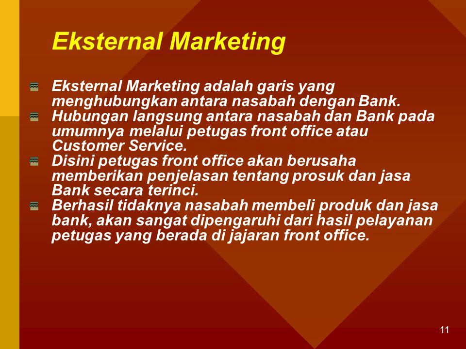 Eksternal Marketing Eksternal Marketing adalah garis yang menghubungkan antara nasabah dengan Bank.