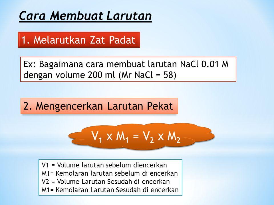 Cara Membuat Larutan V1 x M1 = V2 x M2 1. Melarutkan Zat Padat