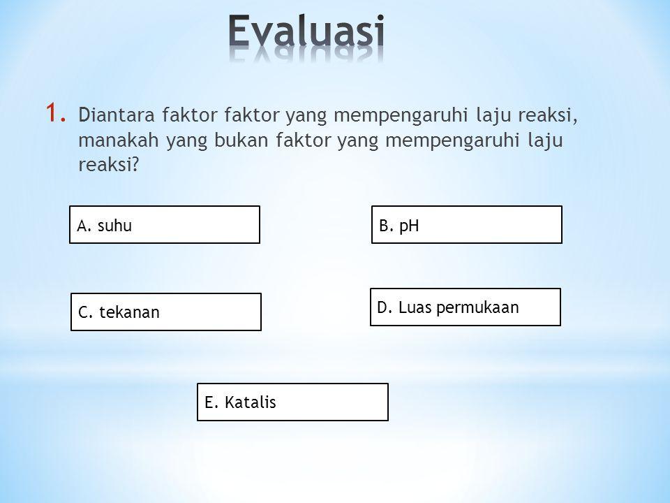 Evaluasi Diantara faktor faktor yang mempengaruhi laju reaksi, manakah yang bukan faktor yang mempengaruhi laju reaksi