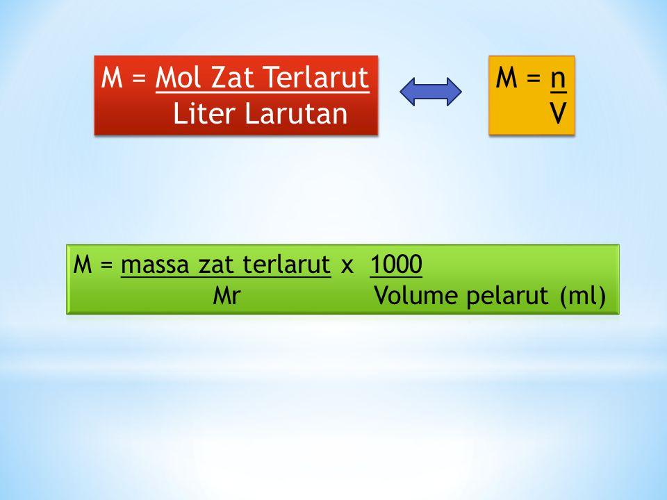 M = Mol Zat Terlarut Liter Larutan M = n V
