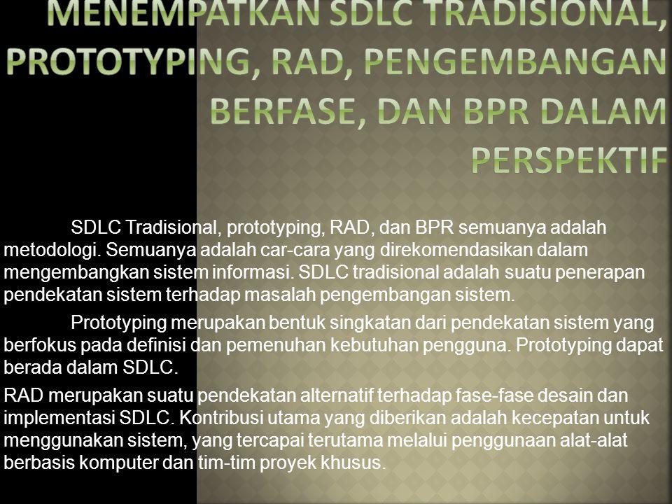 MENEMPATKAN SDLC TRADISIONAL, PROTOTYPING, RAD, PENGEMBANGAN BERFASE, DAN BPR DALAM PERSPEKTIF