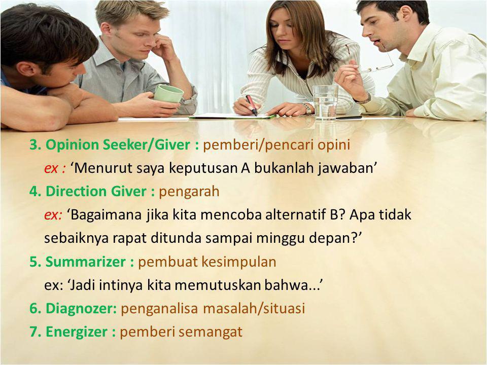 3. Opinion Seeker/Giver : pemberi/pencari opini ex : 'Menurut saya keputusan A bukanlah jawaban' 4.