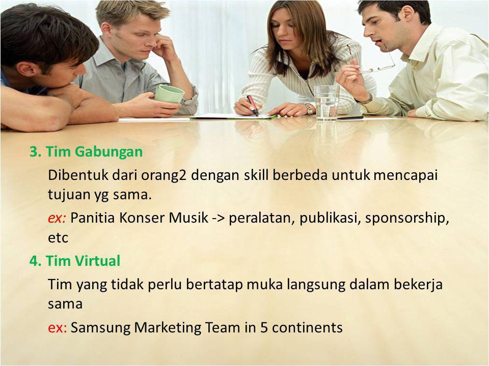 3. Tim Gabungan Dibentuk dari orang2 dengan skill berbeda untuk mencapai tujuan yg sama.