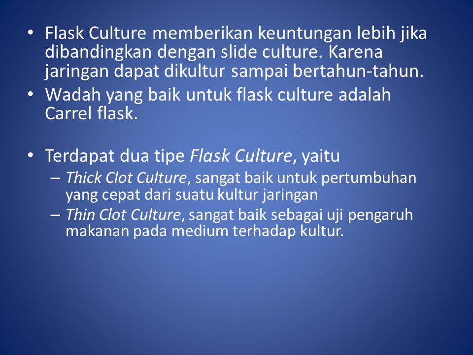 Wadah yang baik untuk flask culture adalah Carrel flask.