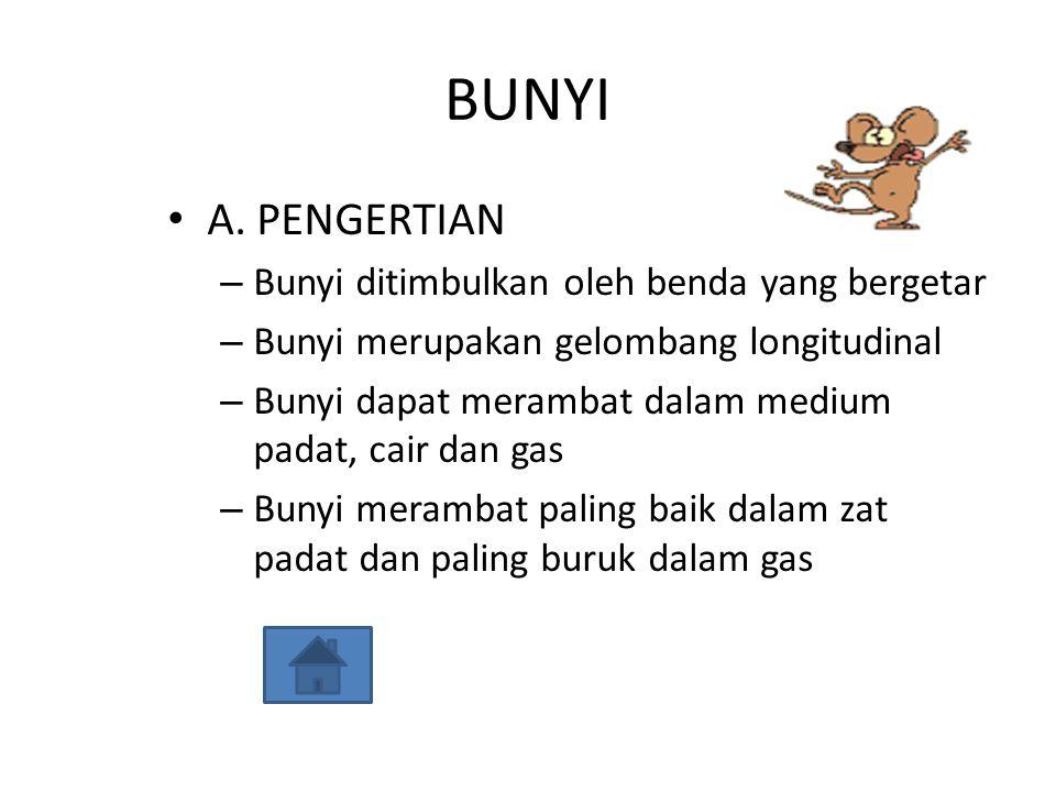 BUNYI A. PENGERTIAN Bunyi ditimbulkan oleh benda yang bergetar