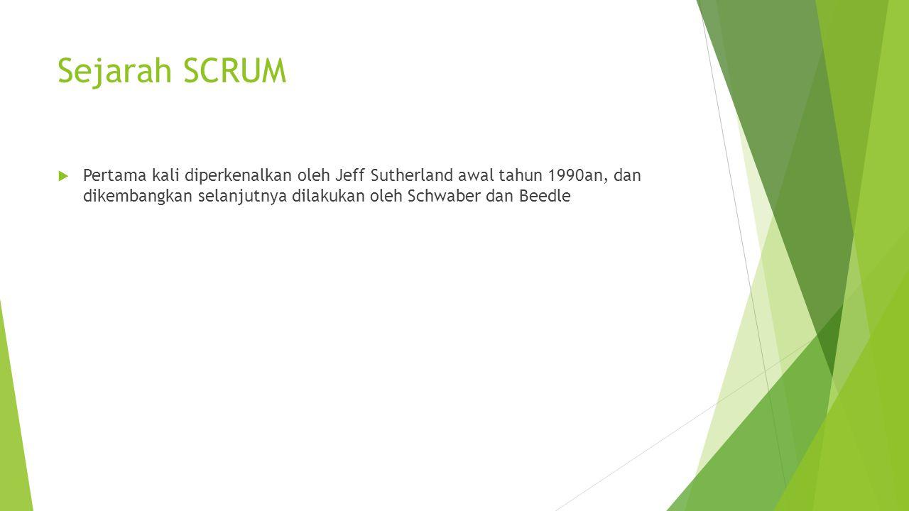 Sejarah SCRUM Pertama kali diperkenalkan oleh Jeff Sutherland awal tahun 1990an, dan dikembangkan selanjutnya dilakukan oleh Schwaber dan Beedle.