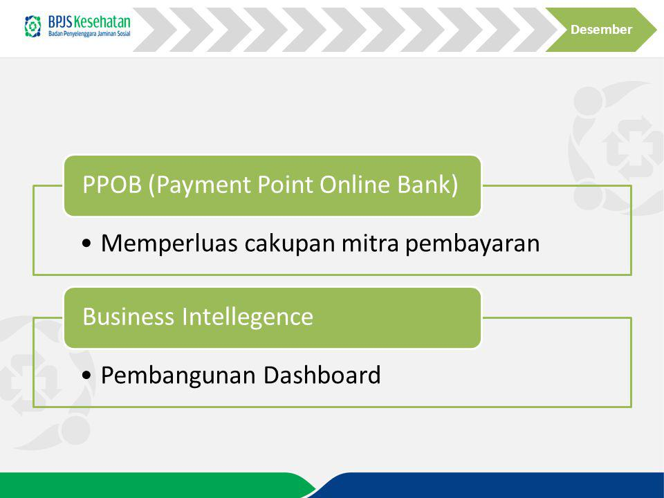 Desember PPOB (Payment Point Online Bank) Memperluas cakupan mitra pembayaran. Business Intellegence.