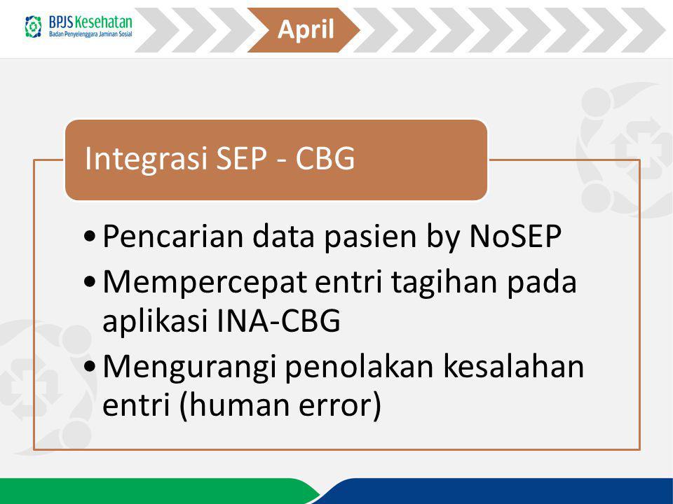 April Integrasi SEP - CBG. Pencarian data pasien by NoSEP. Mempercepat entri tagihan pada aplikasi INA-CBG.