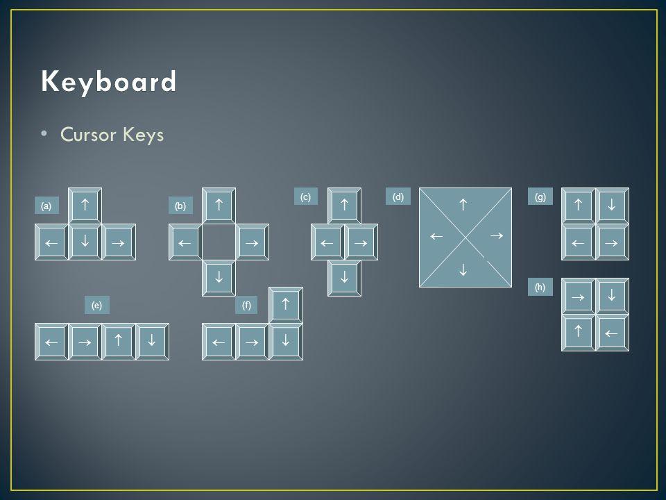 Keyboard Cursor Keys     (a) (b) (c) (d) (e) (f) (g) (h)