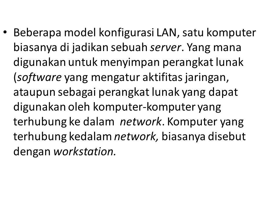 Beberapa model konfigurasi LAN, satu komputer biasanya di jadikan sebuah server.