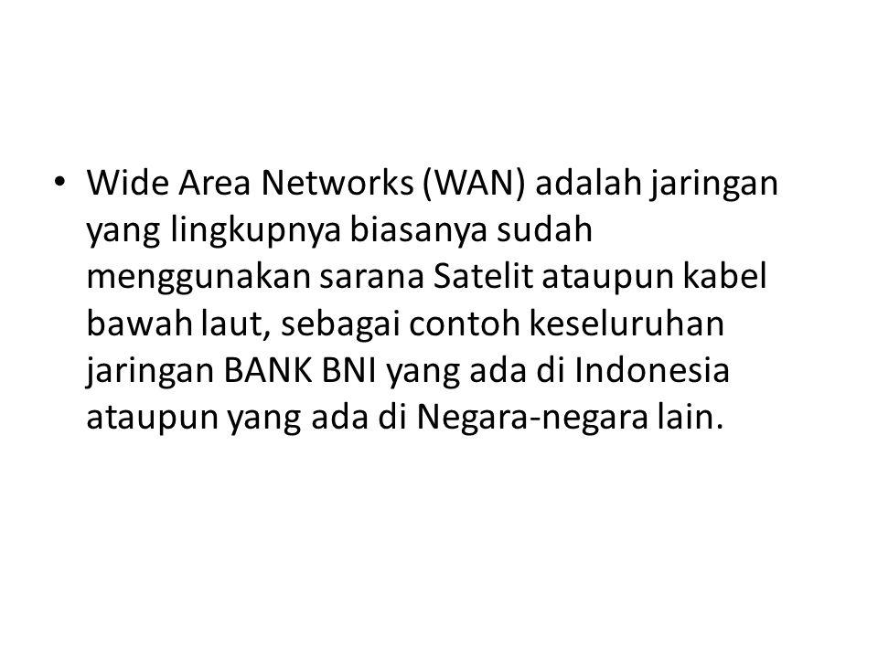 Wide Area Networks (WAN) adalah jaringan yang lingkupnya biasanya sudah menggunakan sarana Satelit ataupun kabel bawah laut, sebagai contoh keseluruhan jaringan BANK BNI yang ada di Indonesia ataupun yang ada di Negara-negara lain.