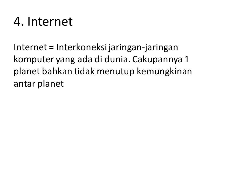 4. Internet Internet = Interkoneksi jaringan-jaringan komputer yang ada di dunia.