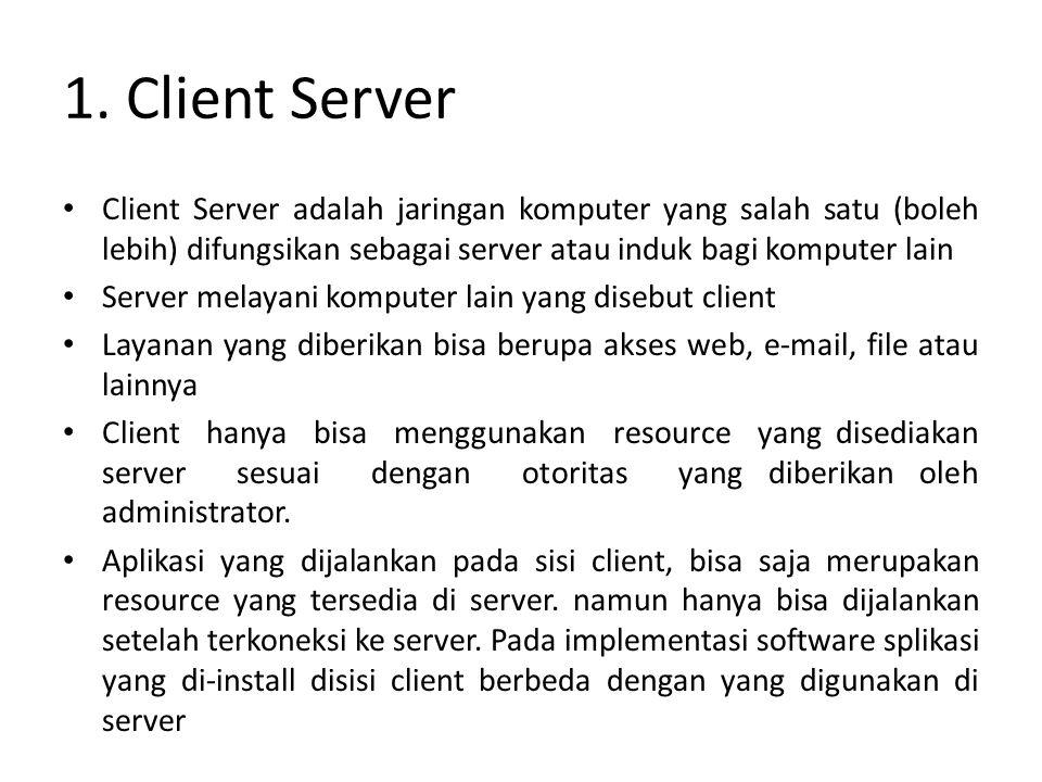 1. Client Server Client Server adalah jaringan komputer yang salah satu (boleh lebih) difungsikan sebagai server atau induk bagi komputer lain.
