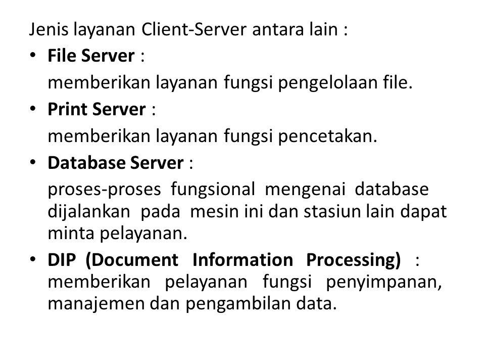 Jenis layanan Client-Server antara lain :