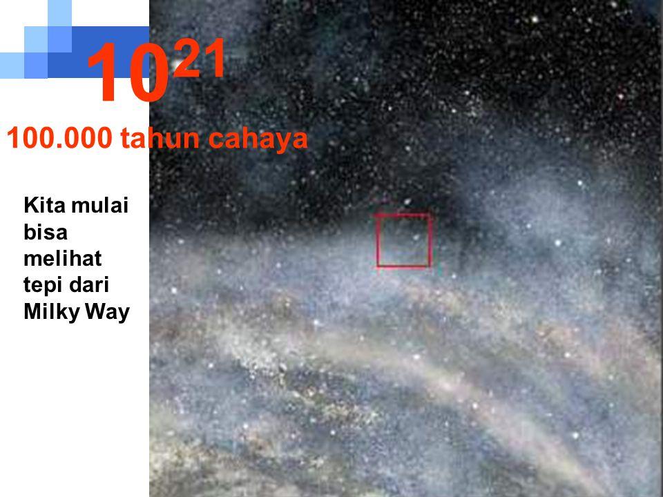 1021 100.000 tahun cahaya Kita mulai bisa melihat tepi dari Milky Way