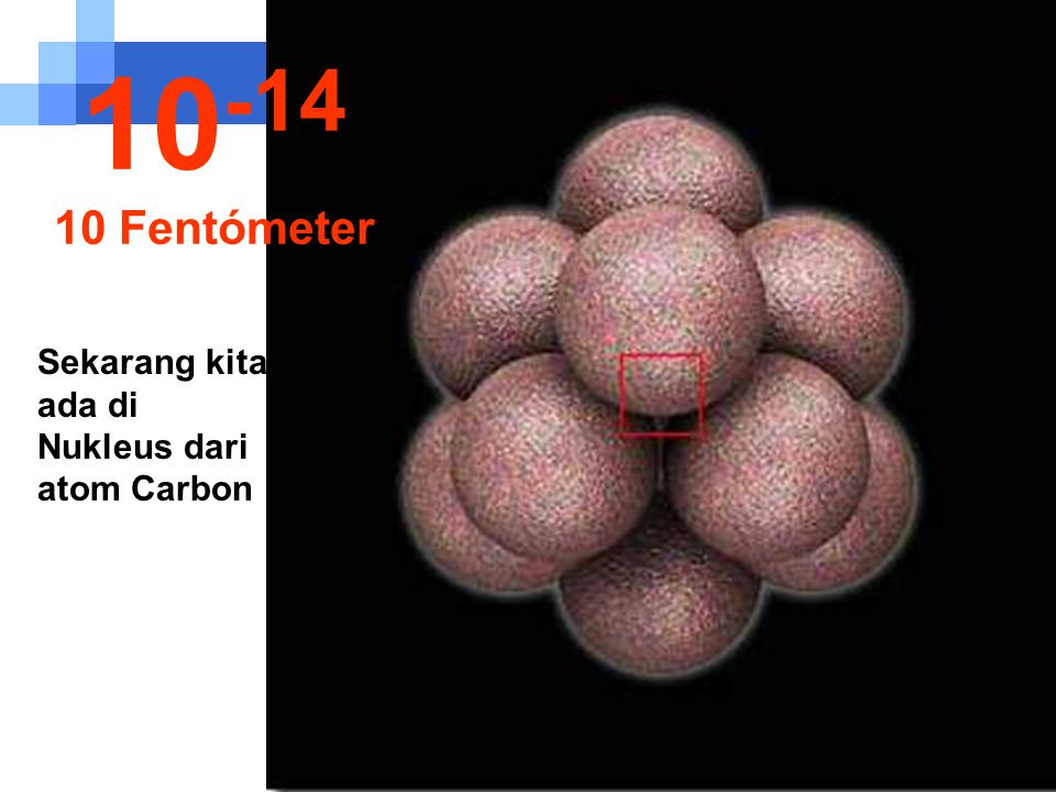 10-14 10 Fentómeter Sekarang kita ada di Nukleus dari atom Carbon