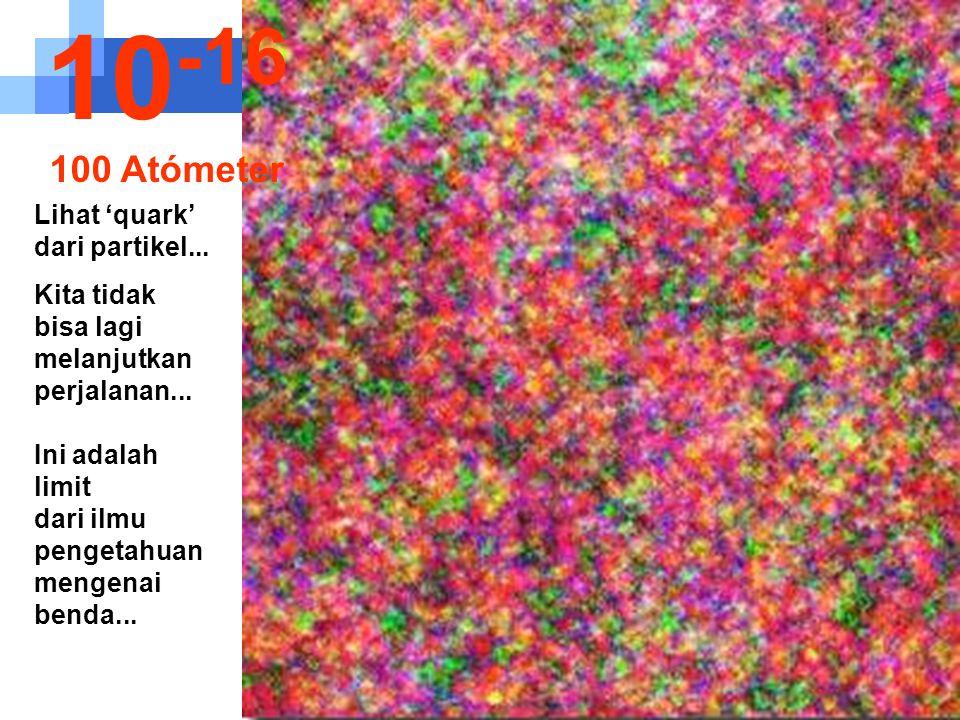 10-16 100 Atómeter Lihat 'quark' dari partikel...