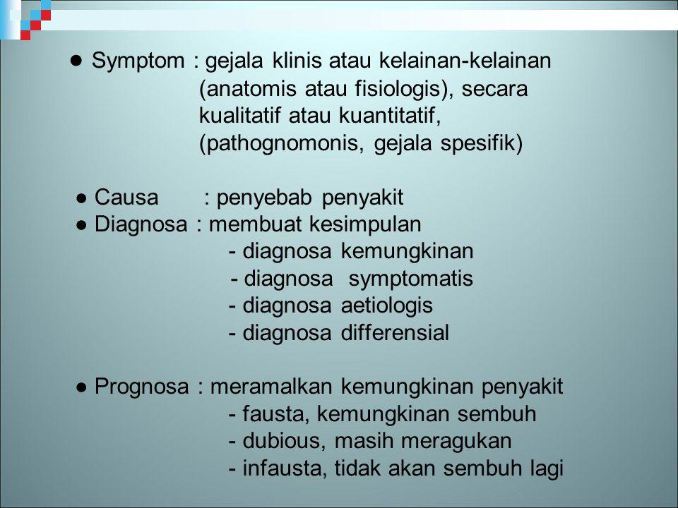 ● Symptom : gejala klinis atau kelainan-kelainan (anatomis atau fisiologis), secara kualitatif atau kuantitatif, (pathognomonis, gejala spesifik) ● Causa : penyebab penyakit ● Diagnosa : membuat kesimpulan - diagnosa kemungkinan - diagnosa symptomatis - diagnosa aetiologis - diagnosa differensial ● Prognosa : meramalkan kemungkinan penyakit - fausta, kemungkinan sembuh - dubious, masih meragukan - infausta, tidak akan sembuh lagi