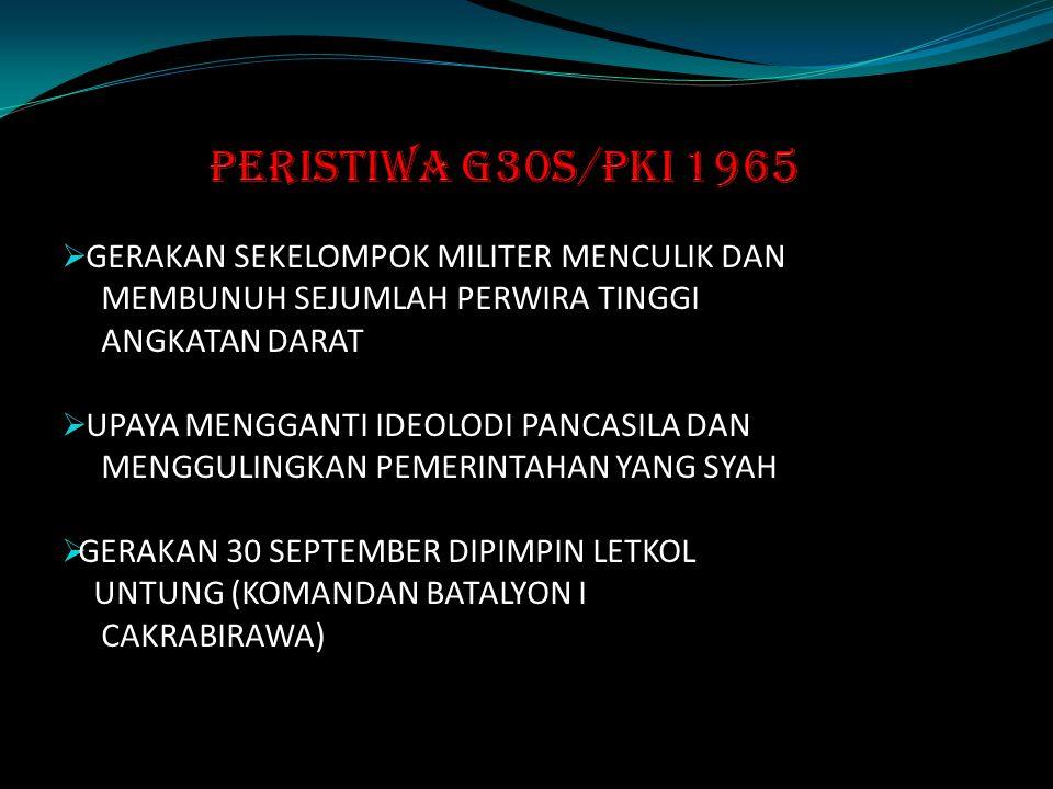 PERISTIWA G30S/PKI 1965 GERAKAN SEKELOMPOK MILITER MENCULIK DAN