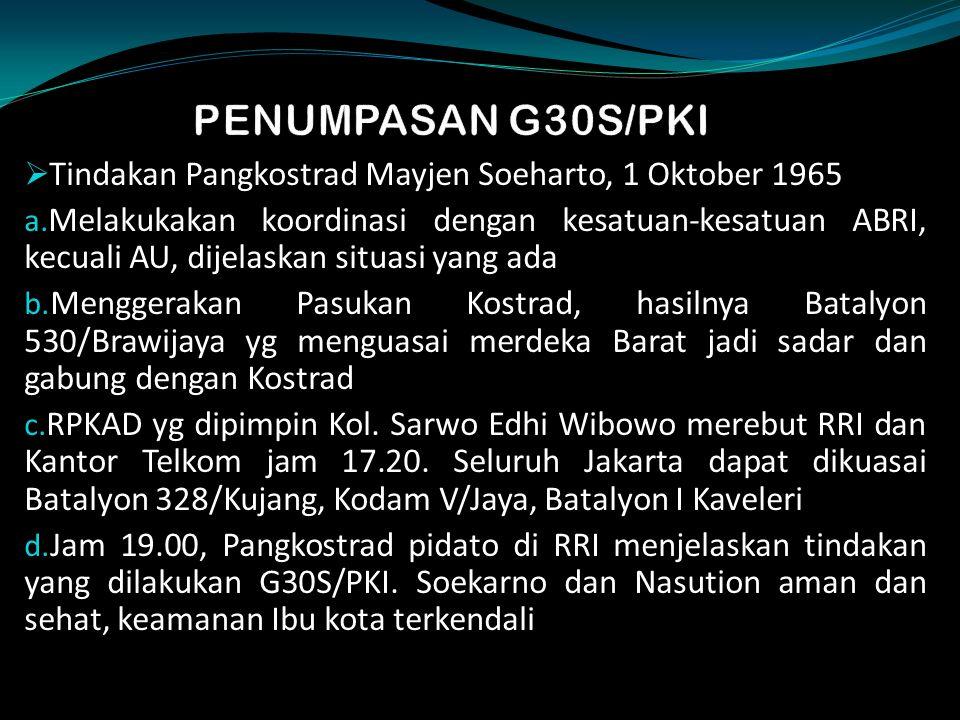 PENUMPASAN G30S/PKI Tindakan Pangkostrad Mayjen Soeharto, 1 Oktober 1965.