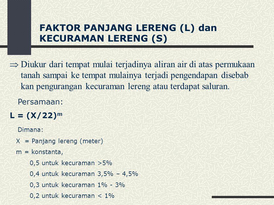 FAKTOR PANJANG LERENG (L) dan KECURAMAN LERENG (S)