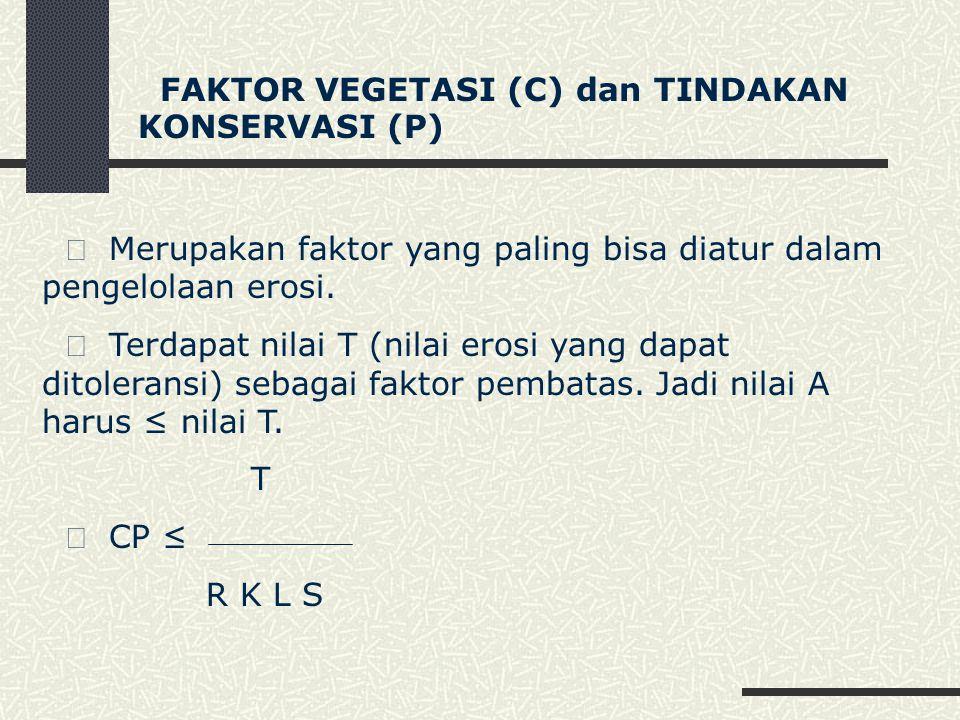 FAKTOR VEGETASI (C) dan TINDAKAN KONSERVASI (P)