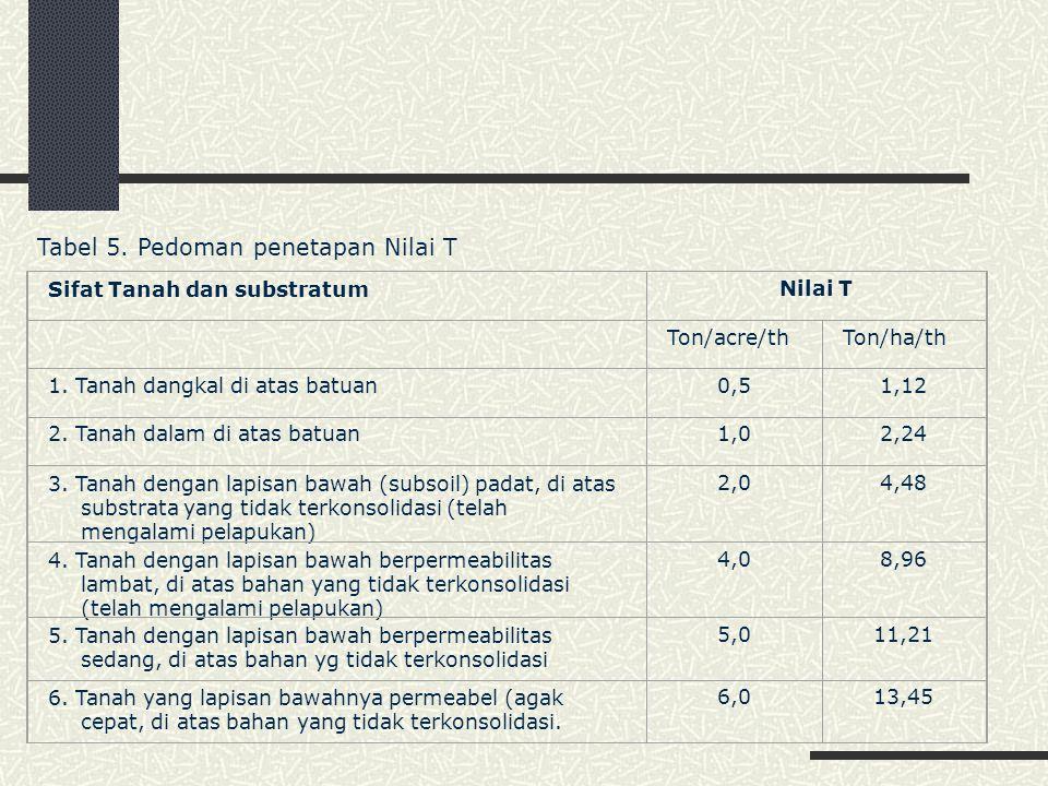 Tabel 5. Pedoman penetapan Nilai T
