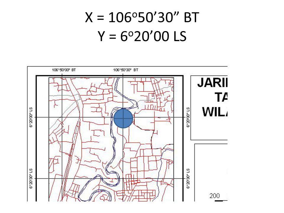 X = 106o50'30 BT Y = 6o20'00 LS