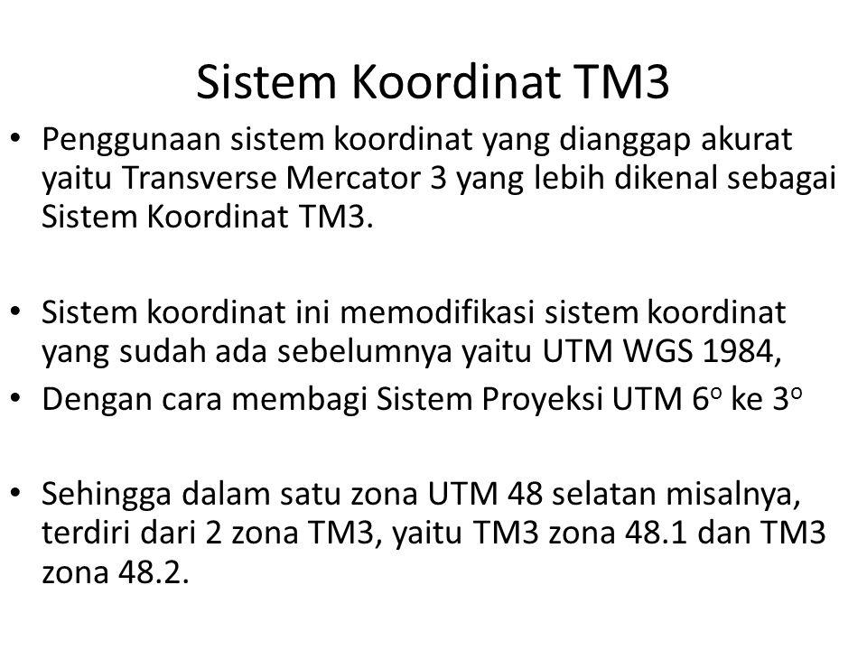 Sistem Koordinat TM3 Penggunaan sistem koordinat yang dianggap akurat yaitu Transverse Mercator 3 yang lebih dikenal sebagai Sistem Koordinat TM3.