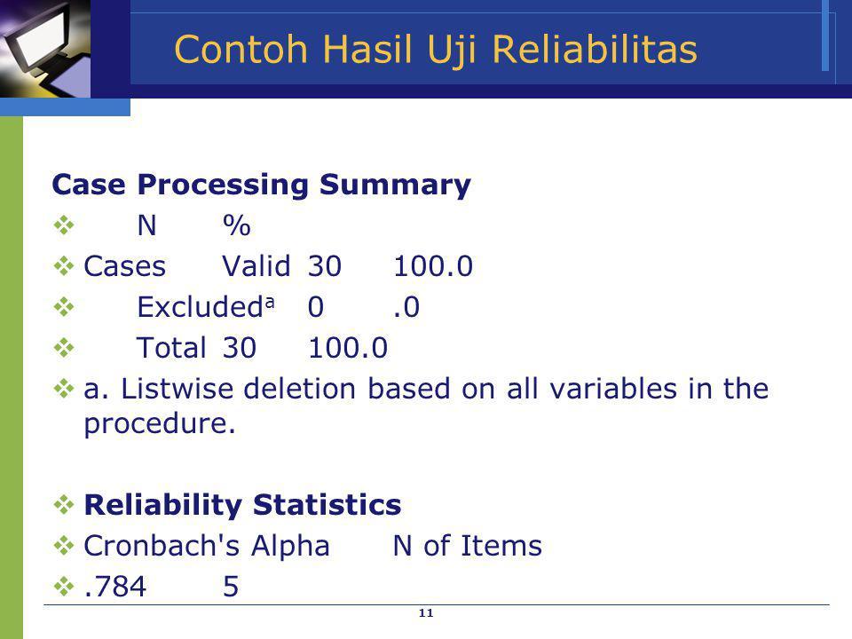 Contoh Hasil Uji Reliabilitas
