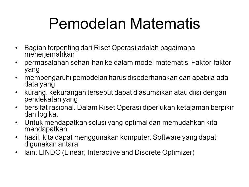 Pemodelan Matematis Bagian terpenting dari Riset Operasi adalah bagaimana menerjemahkan.