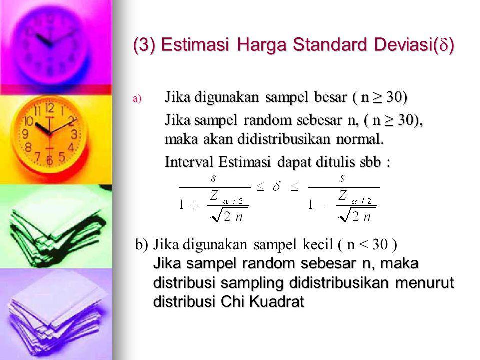 (3) Estimasi Harga Standard Deviasi()