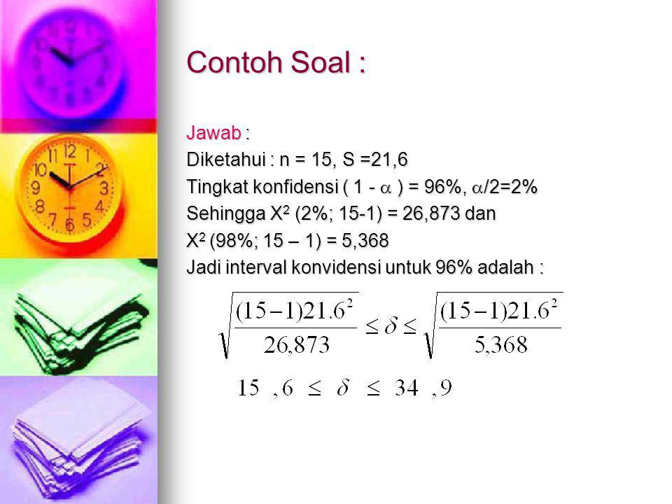 Contoh Soal : Jawab : Diketahui : n = 15, S =21,6
