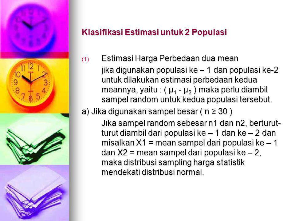 Klasifikasi Estimasi untuk 2 Populasi