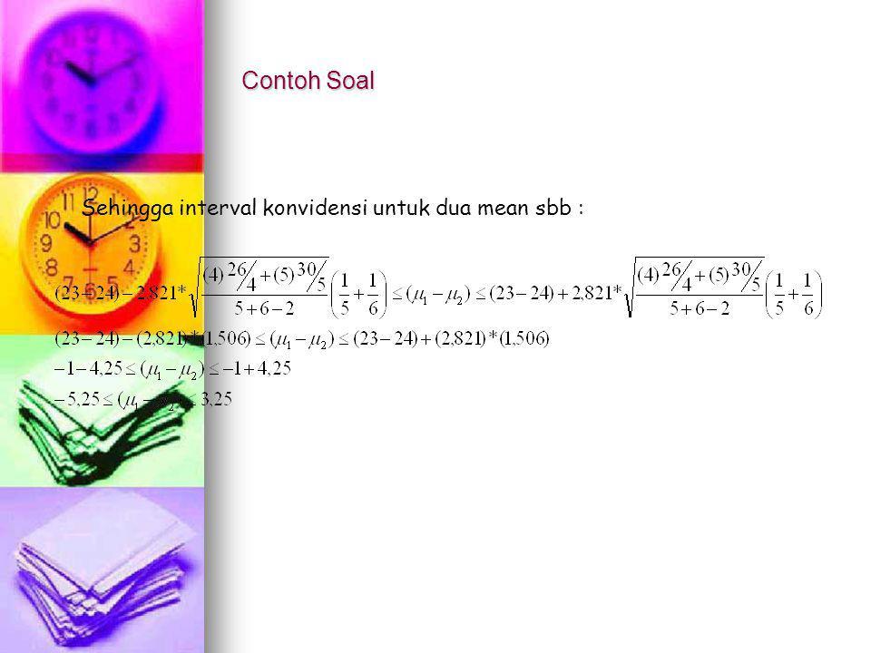 Contoh Soal Sehingga interval konvidensi untuk dua mean sbb :