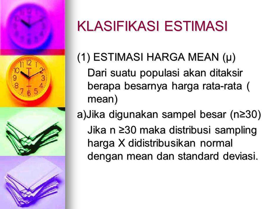 KLASIFIKASI ESTIMASI (1) ESTIMASI HARGA MEAN (µ)