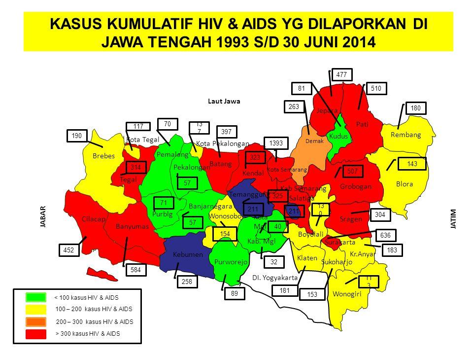 SARANA KESEHATAN KASUS KUMULATIF HIV & AIDS YG DILAPORKAN DI JAWA TENGAH 1993 S/D 30 JUNI 2014. 477.