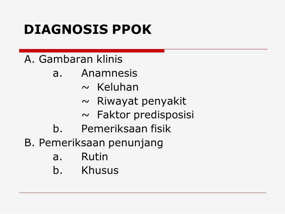 DIAGNOSIS PPOK A. Gambaran klinis a. Anamnesis ~ Keluhan