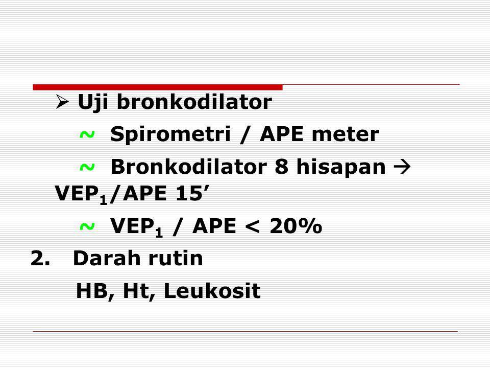  Uji bronkodilator ~ Spirometri / APE meter. ~ Bronkodilator 8 hisapan  VEP1/APE 15' ~ VEP1 / APE < 20%