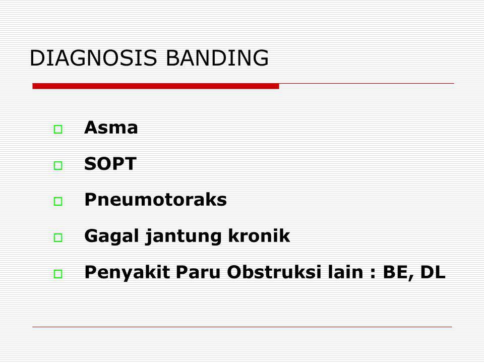 DIAGNOSIS BANDING Asma SOPT Pneumotoraks Gagal jantung kronik