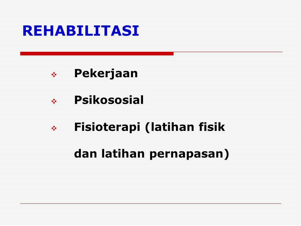 REHABILITASI Pekerjaan Psikososial Fisioterapi (latihan fisik