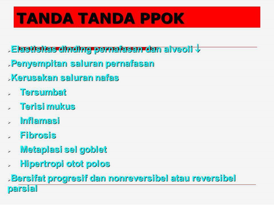 TANDA TANDA PPOK Elastisitas dinding pernafasan dan alveoli 